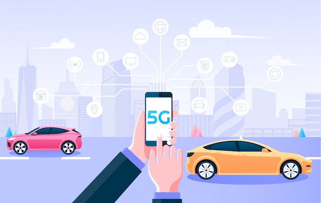 Rede sem fio 5g. segurando as coisas de controle móvel por conexão à internet 5g e fundo cidade inteligente. ilustração.