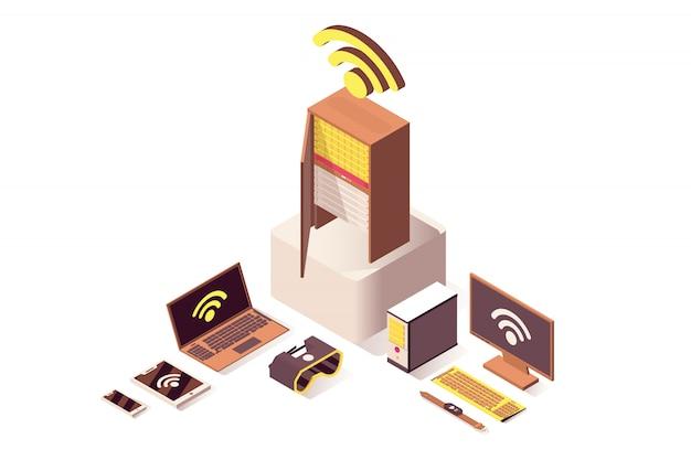 Rede sem fio wifi isométrica de computação em nuvem, armazenamento de banco de dados isolado 3d