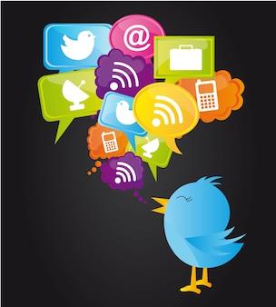 Rede social com ilustração vetorial de pássaro azul