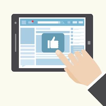 Rede social como ícone em um tablet