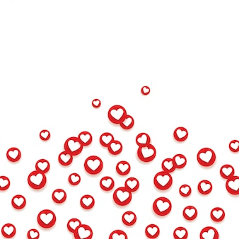 Rede social como ícones de amor.