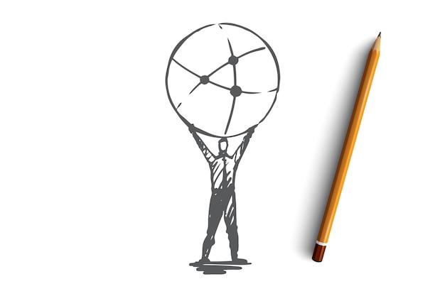 Rede social, comunicação, conceito global de internet. empresário desenhado de mão fazendo esboço do conceito de conexões.