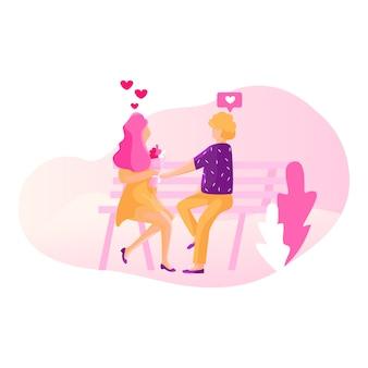 Rede social - conceito de ilustração de namoro