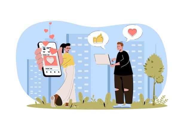 Rede social conceito web usuários homem e mulher em redes sociais se comunicam online