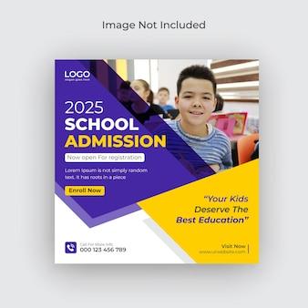 Rede social de admissão de volta às aulas e folheto de banner da web modelo de foto de capa do facebook