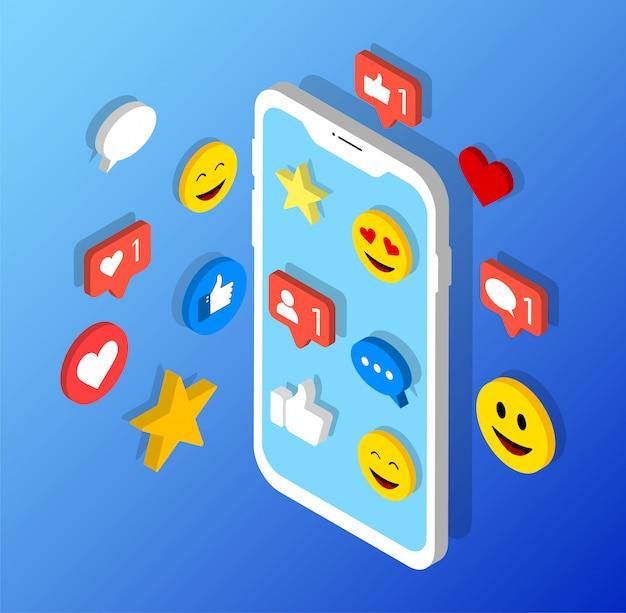 Rede social de ícones de mídia social no smartphone.