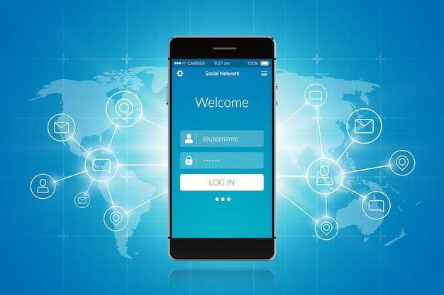 Rede social de smartphone