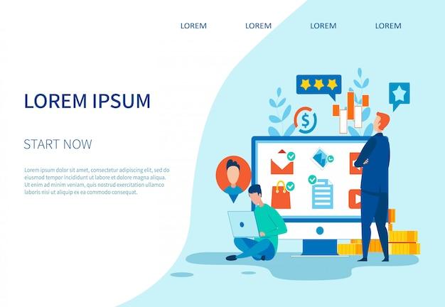 Rede social e página de destino de marketing de negócios