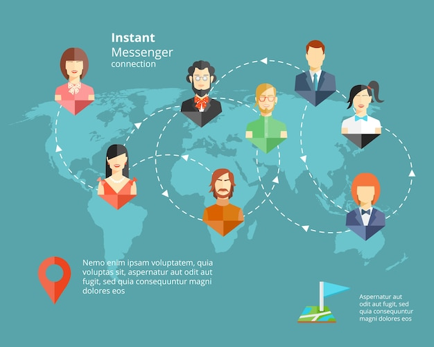 Rede social global de vetor ou conceito de mensageiro instantâneo