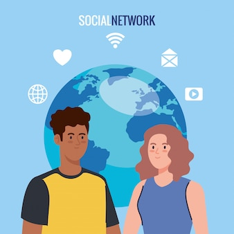 Rede social, jovem casal com ícones de mídia social