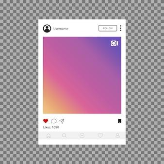Rede social. modelo de interface para aplicativos móveis. ilustração de quadro de foto ou vídeo de design plano