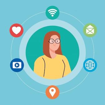 Rede social, mulher jovem e ícones de mídia social