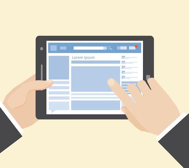 Rede social no computador tablet com as mãos