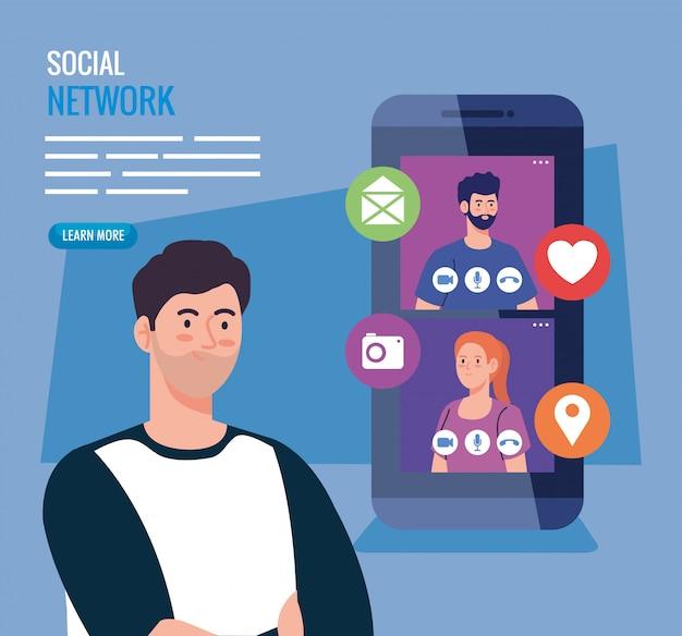 Rede social, pessoas conectadas em smartphone, conceito interativo, de comunicação e global
