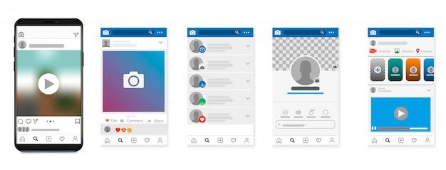 Rede social, quadros de postagem e outras ilustrações de páginas. Vetor Premium