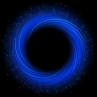 Redemoinho abstrato azul redondo com buraco negro