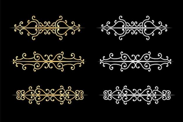 Redemoinhos decorativos divisores delimitador de texto antigo, ornamentos de redemoinho caligráfico e divisor vintage, bordas retrô.