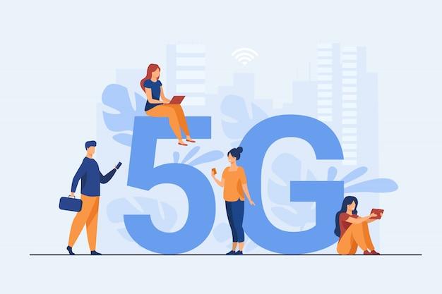 Redes 5g e ilustração de telecomunicações