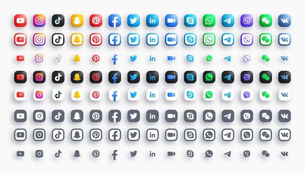 Redes de mídia social e mensageiros ícones modernos arredondados em 3d coloridos e monocromáticos definidos em diferentes variações