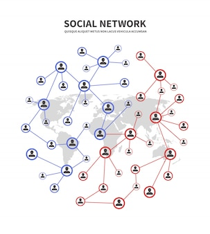 Redes de pessoas socia e telecomunicações, conceito de vínculos humanos com pessoas que compartilham informações
