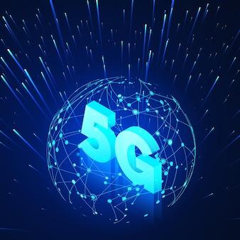 Redes móveis globais de alta velocidade. holograma e texto de rede global de ilustração isométrica de negócios