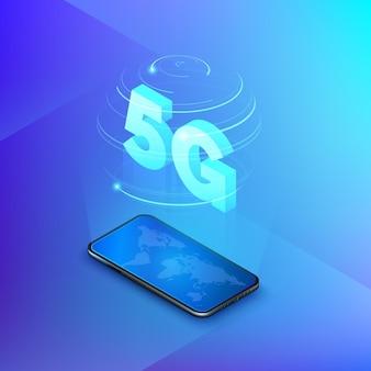 Redes móveis rápidas de 5g. celular com mapa global na tela e holograma de redes sem fio de conexão web com texto isométrico 5g no interior. fundo de tecnologia.