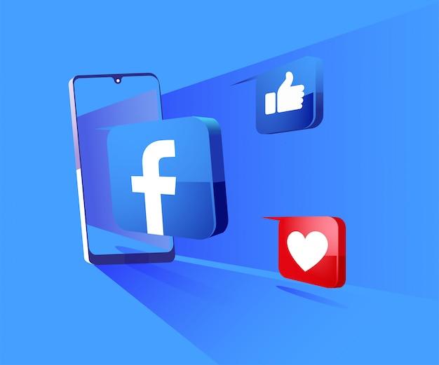 Redes sociais 3d do facebook com ilustração do símbolo do smartphone