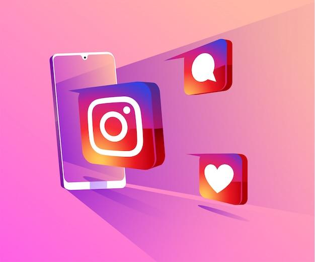 Redes sociais 3d do instagram com ilustração do símbolo do smartphone