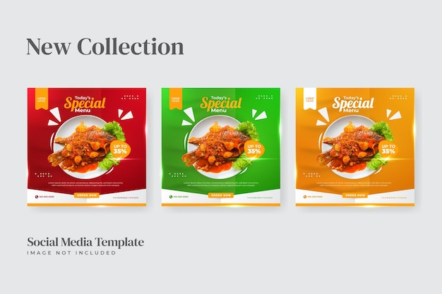 Redes sociais de cardápio especial de comida