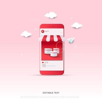 Redes sociais de compras online com ilustração de smartphone