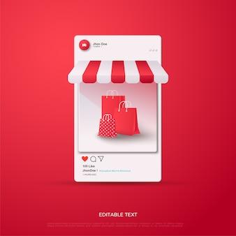 Redes sociais de compras online com sacola de compras vermelha
