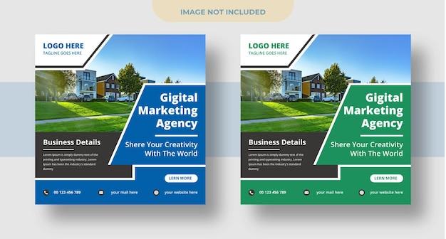 Redes sociais de marketing digital, postagem no instagram e design de banner na web