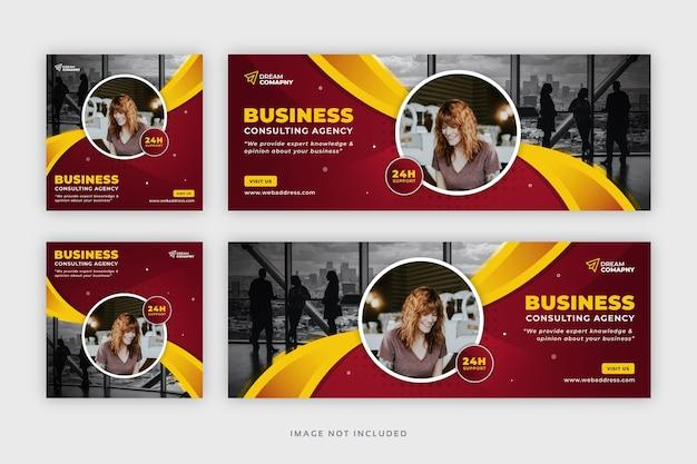 Redes sociais de negócios corporativos postam banner da web com modelo de capa do facebook