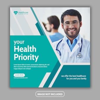 Redes sociais de saúde médica e design de postagem no instagram