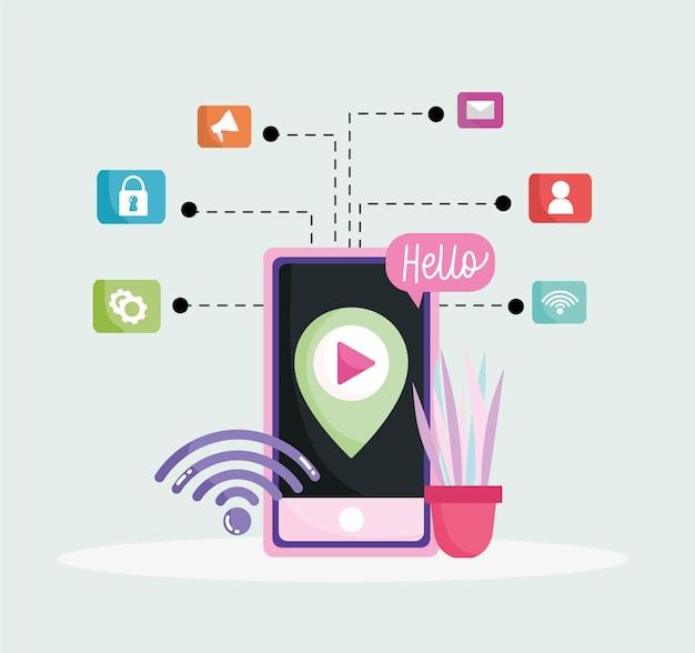 Redes sociais de smartphone