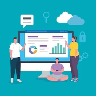 Redes sociais, grupo de pessoas com computador e design de ilustração infográficos