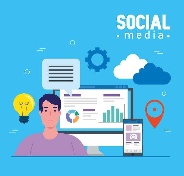 Redes sociais, homem com smartphone e design de ilustração de ícones eletrônicos