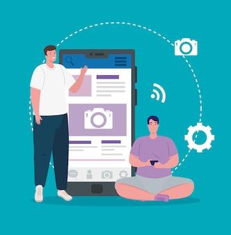 Redes sociais, homens com smartphone e design de ilustração de ícones