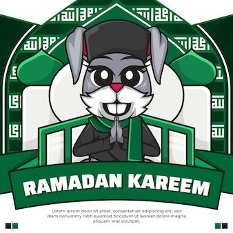 Redes sociais postam ramadan kareem com um coelho fofo de desenho animado