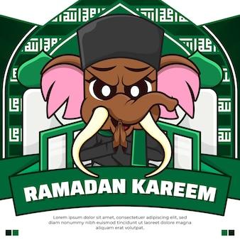 Redes sociais postam ramadan kareem com um mamute bonito de desenho animado