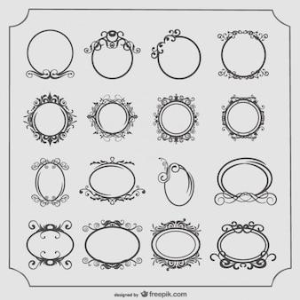 Redonda e oval quadros vintage ajustados