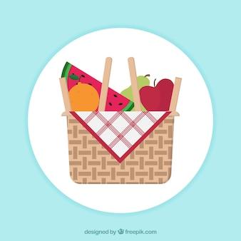 Redondo, fundo, cesta, frutas