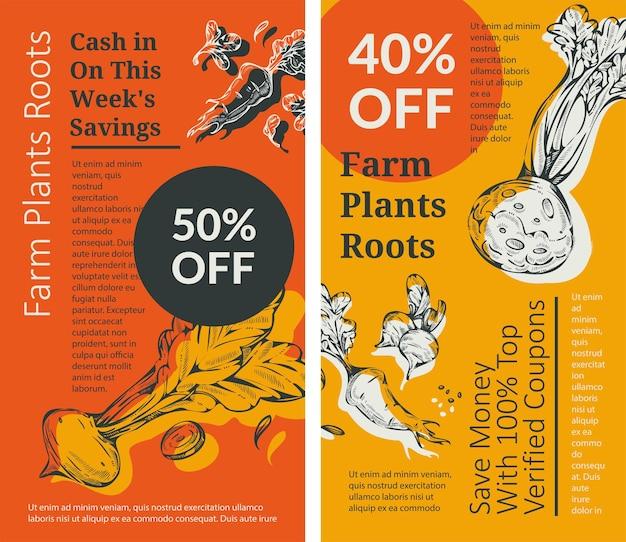 Redução das raízes das plantas agrícolas no preço dos produtos