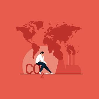 Redução do dióxido de carbono, pare a poluição do ar e os danos ao meio ambiente, salve o conceito do planeta terra