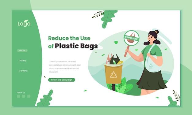 Reduza a campanha de sacolas plásticas no modelo da página de destino