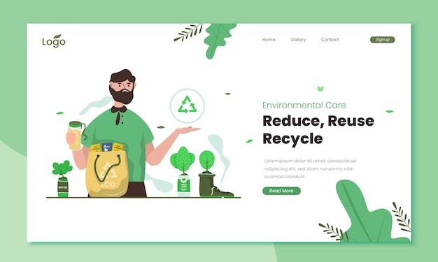 Reduza o conceito de ilustração de reutilização e reciclagem
