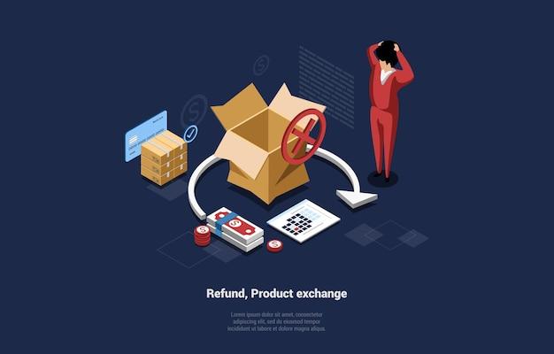 Reembolso, composição conceitual de troca de produto em azul escuro