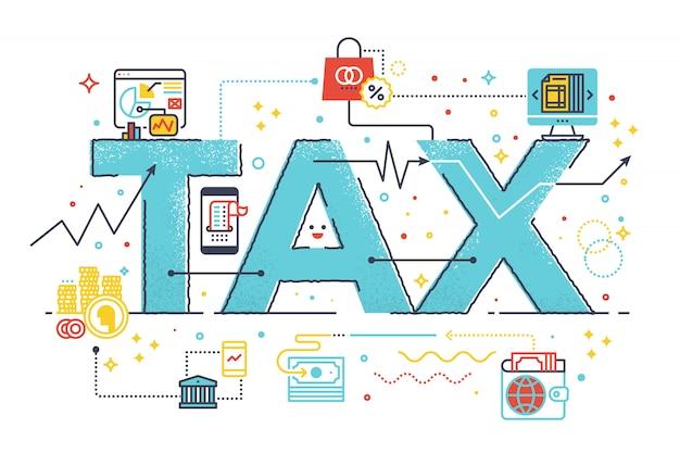 Reembolso de imposto palavra de conceito de negócio rotulação design ilustração