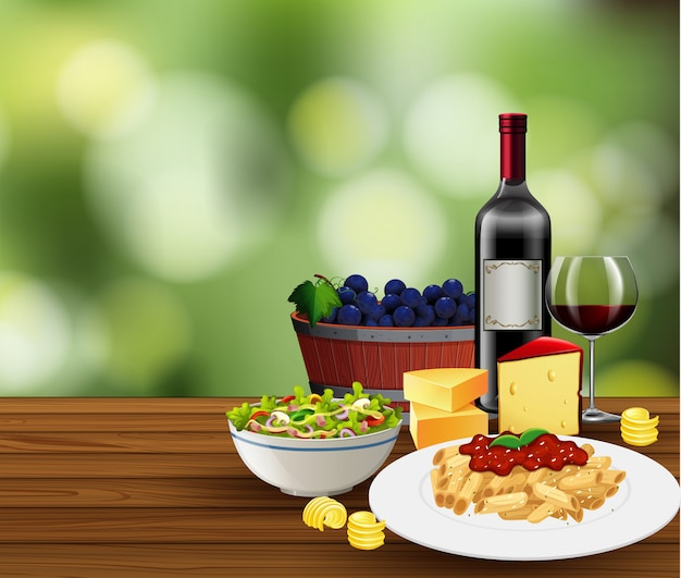 Refeição com cena de vinho