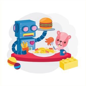 Refeição de brinquedos. robô e urso fofo almoçam.